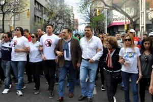 Gremios alineados con el gobierno K marcharon en apoyo a CFK y en repudio a los fondos buitre