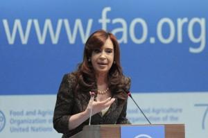 Ante la FAO, CFK plateó necesidad de regulación global para evitar especulación con los alimentos