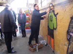 Candidatos de 4 frentes electorales pintaron mural por la campaña #CambiemosXArte