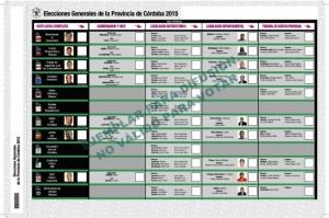 Elecciones: El TEP difundió la Boleta Única que el elector encontrará en el cuarto oscuro