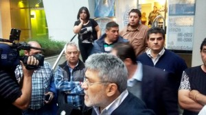 Muestra de unidad de gremialistas de las dos CGT en apoyo a Scioli Presidente