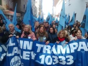 """Con un """"banderazo"""", gremios insisten en su rechazo a la ley 10.333"""