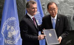 ONU: Con la entrega del documento, Macri ratificó el compromiso de ARG para mitigar efectos del cambio climático