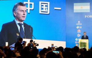 """Al afirmar que es """"un socio absolutamente estratégico"""", Macri destacó el principio de """"una época maravillosa"""" con China"""