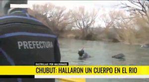 El cuerpo hallado en el río Chubut será trasladado a Buenos Aires