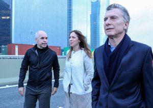 Al inaugurar el Paseo del Bajo, junto a Vidal y Larreta, Macri criticó al Gobierno K